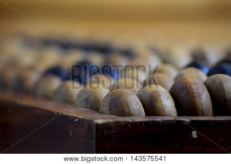 Old wooden abacus on the wooden table