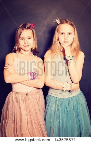 Lovely Girls Sisters. Two Cute Young Teen Girls Friends
