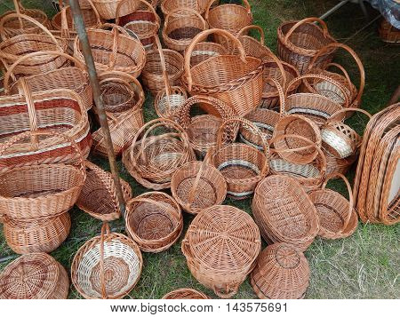 Set of baskets woven by hand and texture background