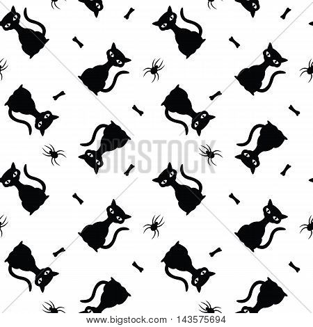 Seamless vector halloween pattern with black cats, spiders and bones.