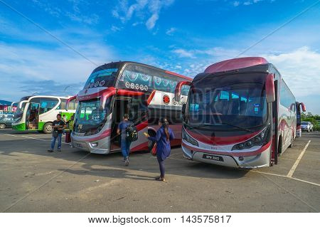 Menumbok,Sabah-Aug 19,2016:View of Menumbok bus terminal located at Menumbok,Sabah.People used to take bus from Kota Kinabalu to Menumbok,Sabah then ferry to Labuan island to enjoy tax free shopping.