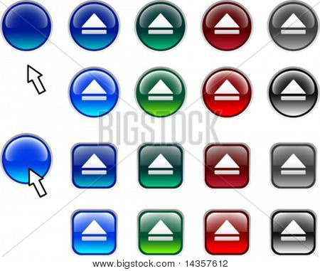 A lot of eject icons. Vector illustration.