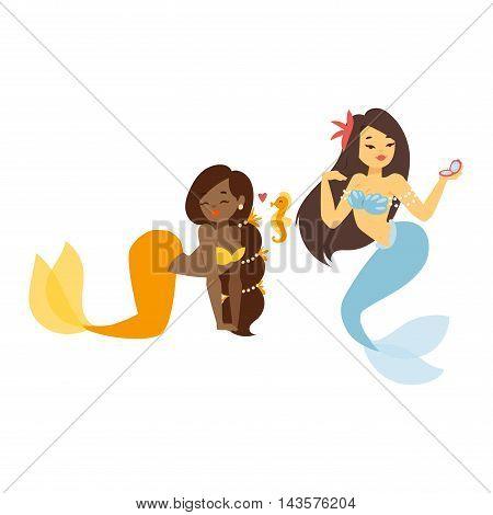 Mermaid character design coral set aquatic life concept vector illustration.