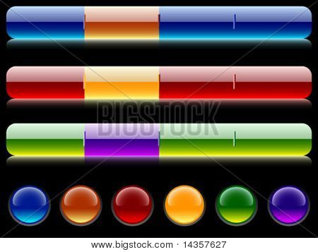 Glossy bars and buttons. Vector illustration.