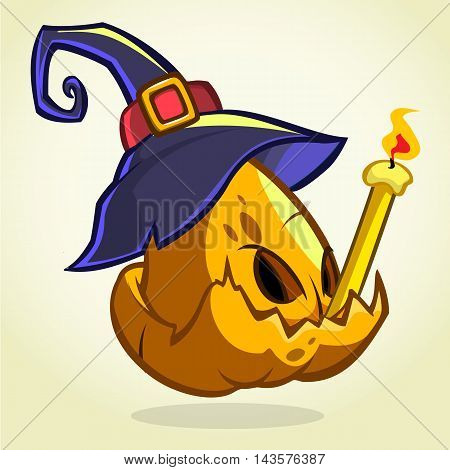 Jack-O-Lantern. Halloween pumpkin head in blue witch hat holding candle. Vector illustration isolated on dark background