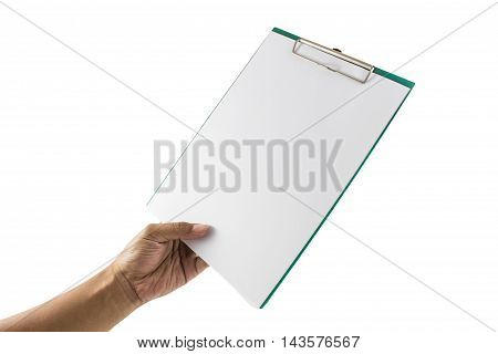 Businessman holding a clipboard and write on it, isolated on white background