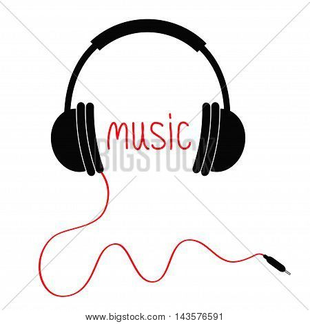 Headphones red cord and word Music. Card. Flat design icon. White background Isolated. Vector illustration