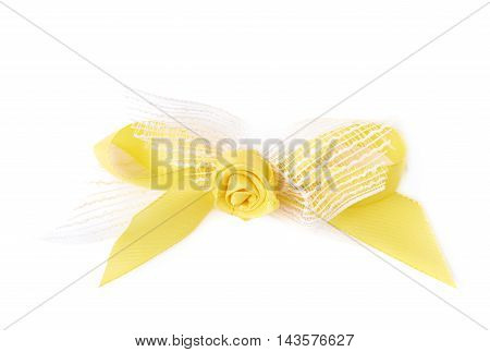 Decorational bow with the tape flower, isolated over the white background