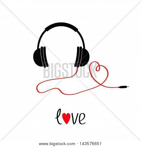 Headphones and red cord in shape of heart. Black text love. Flat design icon. White background. Isolated Vector illustration