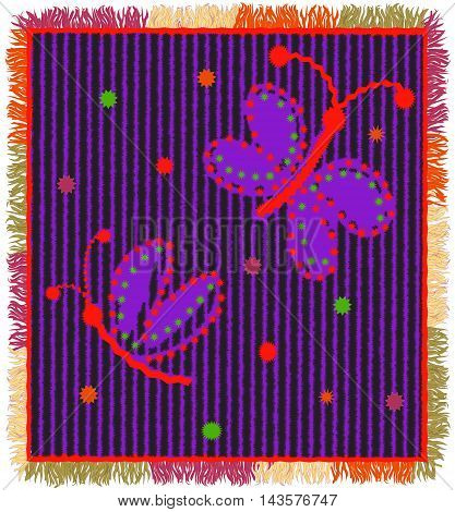 Colorful weave carpet with vertical zigzag stripesapplique of stylized butterfly and fringe