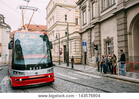 Prague, Czech Republic - October 10, 2014: Movement of tram on the street Malostranske namesti
