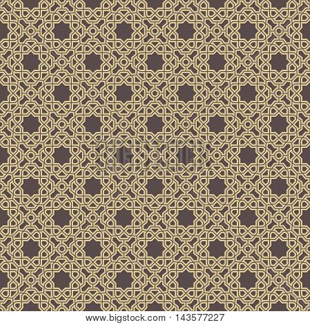 Seamless vector brown and golden pattern for your designs and backgrpounds. Modern geometric ornament