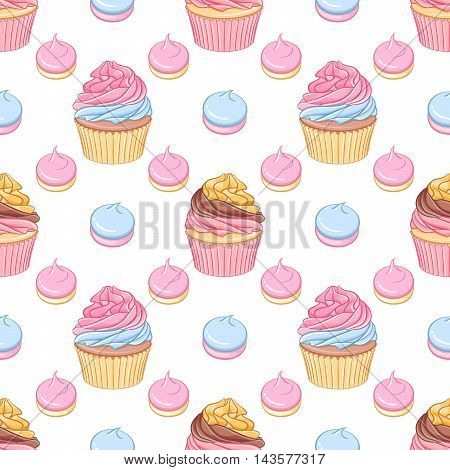 Cute pink and chocolate cream cupcakes and meringues vector seamless pattern on white background.