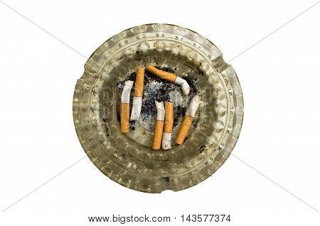 Cigarette, Smoking, Ashtray  isolated on white background.