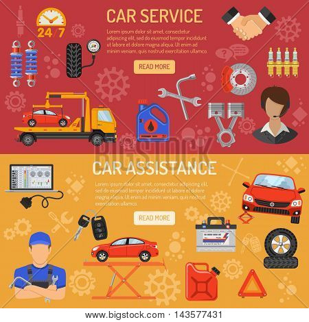 Car Service and Assistance Horizontal Banners with Flat Icons. Vector illustration.