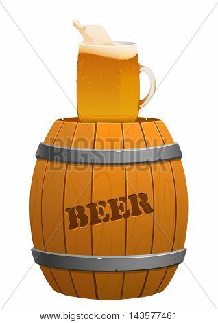brown wooden barrel and beer mug isolated