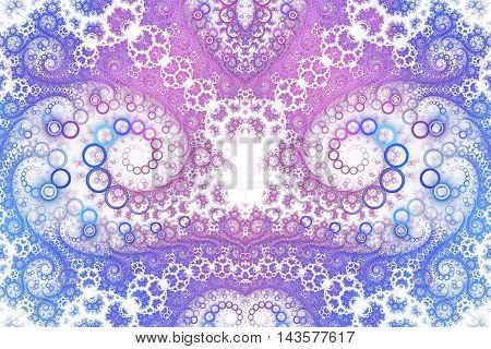 Abstract intricate spiral ornament on white background. Symmetrical pattern. Fantasy fractal design in blue rose and violet colors.
