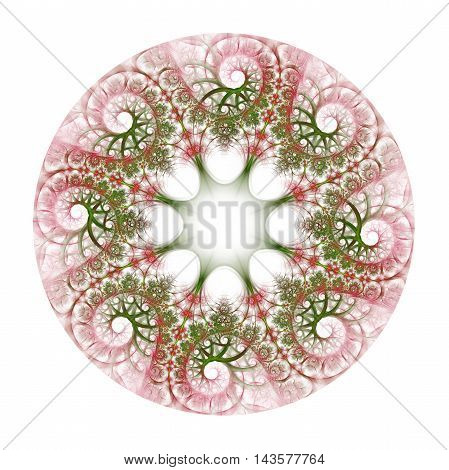 Abstract colorful flower wreath on white background. Symmetrical ornament in red rose and dark green colors. Fantasy fractal design for postcards wallpapers or clothes.