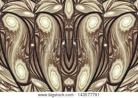 Stylized wooden texture. Symmetrical pattern. Fractal illustration in beige brown and black colors.