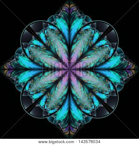 Fantasy floral ornament on black background. Symmetrical pattern. Abstract fractal illustration in rose violet and blue colors.