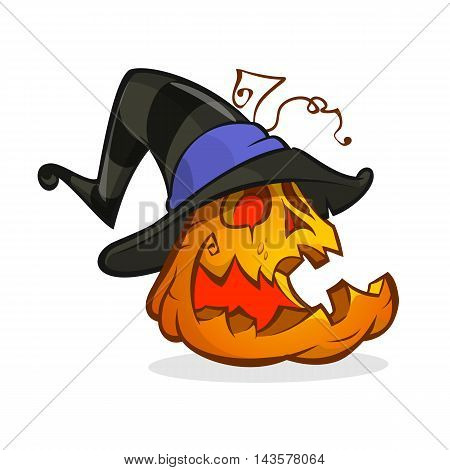 Jack-O-Lantern. Halloween pumpkin in witch hat. Vector illustration isolated