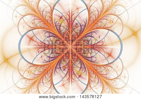 Abstract flower ornament on white background. Symmetrical pattern in bright red yellow orange pink and light blue colors.. Fantasy fractal design for postcards wallpapers or clothes.