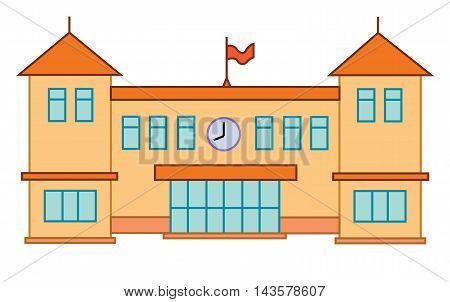 School or university building. Vector flat education concept college illustration