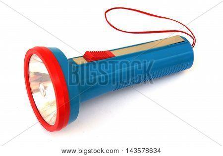 Plastic colorful pocket flashlight on white background