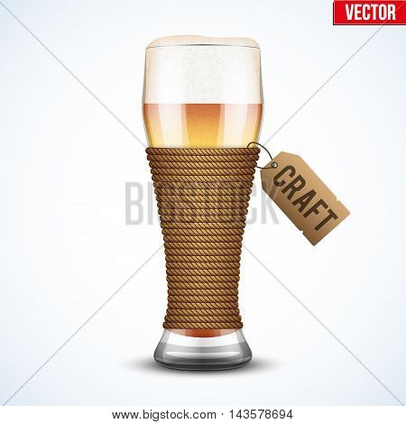 Symbol of Craft Beer. Glass and rope. Editable Vector Illustration isolated on white background.
