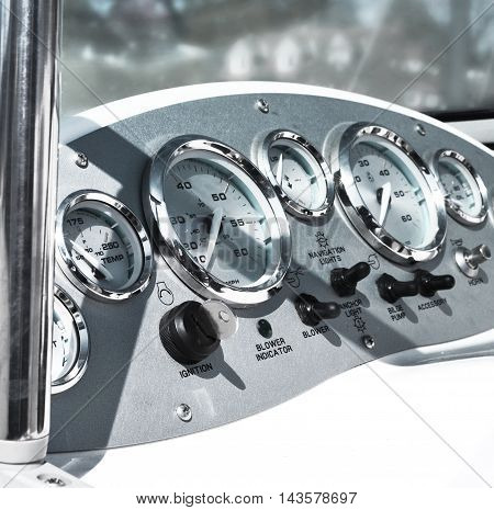Cockpit or control panel of a motor boat.