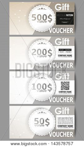 Set of modern gift voucher templates. Abstract polygonal low poly backdrop with connecting dots and lines, connection structure. Vector or digital science background.