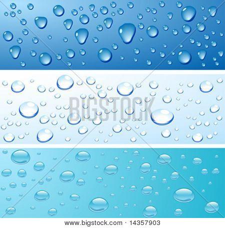 Tres superficies mojadas. Ilustración del vector.