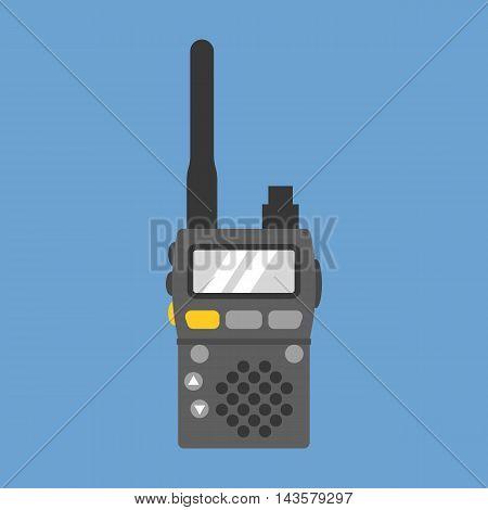 Vector walkie talkie, flat design on blue background