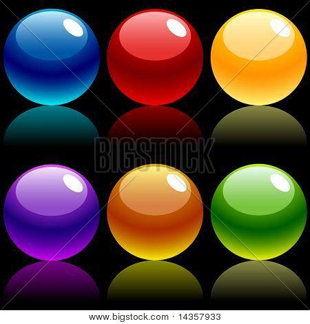 Beautiful balls on dark. Vector illustration.