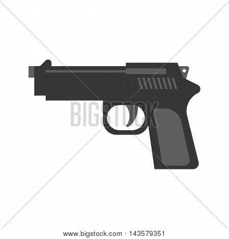Vector hand gun, flat design on white background