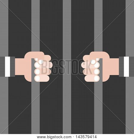 Vector thief and prison, cage,  flat design