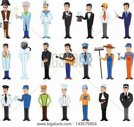 Cartoon vector set of characters of different professions