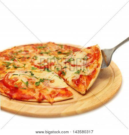 tasty Pizza. Italian Food on White Background
