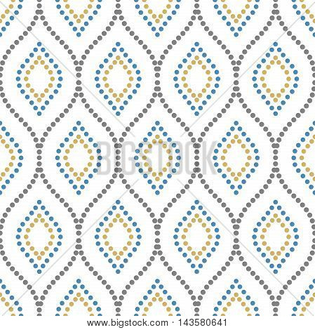 Seamless vector ornament. Modern geometric pattern with repeating colored dotted wavy lines