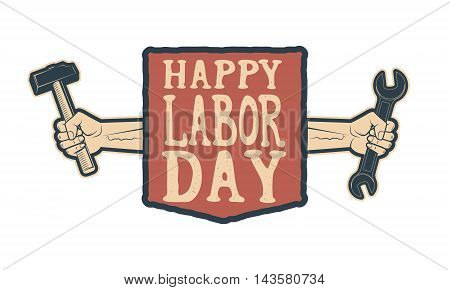 Happy labor day card template. Vector illustration.