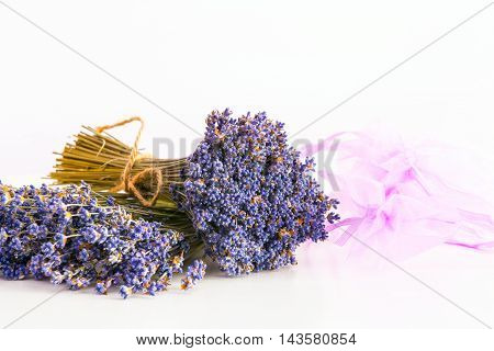 Bunch of dry wild mountain lavender flowers bunch and aroma bags