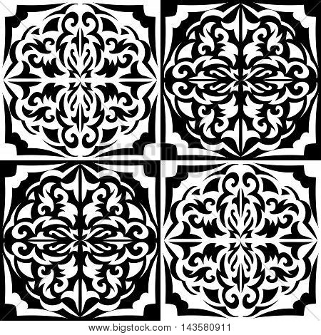 black and white chess seamless pattern of semi circles