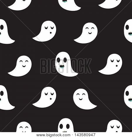 Ghost black seamless vector pattern. Funny spooks in monochrome colors.