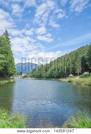 at Lake Riessersee in Garmisch-Partenkirchen in upper Bavaria,Germany