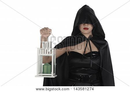 Halloween Witch Woman Holding Lantern
