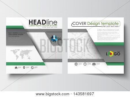 Business templates for square design brochure, magazine, flyer, booklet or annual report. Leaflet cover, abstract flat layout, easy editable blank. Back to school background with letters made from halftone dots, vector illustration