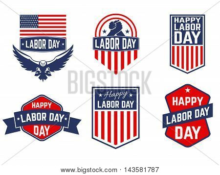 Set of Labor Day vector greeting card badge and labels. Design element in vector.