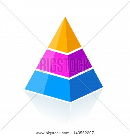 Three parts layered pyramid vector illustration isolated on white background