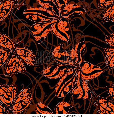 seamless pattern of orange butterflies and tiger lilies in the Art Nouveau style on a black background.
