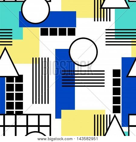 Memphis style. Seamless geometric vintage seamless pattern in Retro 80s or 90s. Can be used in the textile fabric paper print web design. Vector illustration.